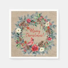 Rustic watercolor floral Merry Christmas burlap Napkins