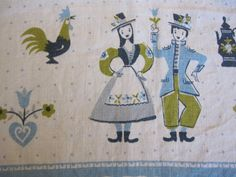 Shop Closing Sale - Vintage Retro Scandanavian Farm Print Tablecloth. 49 1/2 x 65. Farm Couple, Roosters, Polka Dots. via Etsy.