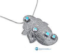 India style Pendant with Blue opal gemstone and 925 sterling silver handmade by Simenda jewellery