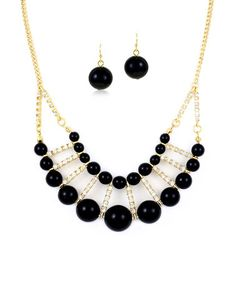 This Gold & Black Bead Ladder Necklace & Drop Earrings by Queen Jewelers is perfect! #zulilyfinds
