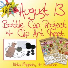 Day 13: Another fun give away. We are giving away today our Bottle Cap Project Kit. You can make a lot of cute things with this one. Includes a Mini Paddle, four plain bottle caps, a pendant bottle cap, chain, magnets, and epoxy dots. We will also include a clip art sheet for your sorority (if it is one we sell). Check our Idea Gallery to see lots of finished examples.    Enter at Facebook.com/diygreek  Each Giveaways open for FIVE days