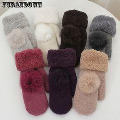 2017 New Fashion Winter Fingerless Gloves Mittens For Women Fur Pom Poms Warm Wool Glove
