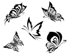 Vektor: Black white butterflies of a tattoo