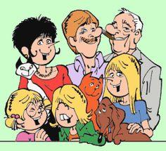 De familie bestaat uit vader Jan, moeder Jans, de dochters Karlijn en Catootje en nakomertje Gertje. Het huisgezin wordt gecompleteerd door De Rode Kater, Lotje de teckel en de Siamese poes Loedertje. Daarnaast spelen ook onder meer Jeroen, het vriendje van Catootje, nicht Hanna (een bewust ongehuwde moeder), opa Gerrit (de vader van Jan), en opa's vriendin Moeps een rol in de verhalen. Naast de wekelijkse strip in Libelle zijn er door de jaren ook 54 albums uitgebracht Best Cartoon Movies, Books To Read, My Books, Forever Memories, Cool Cartoons, Comic Books Art, My Childhood, Illustrators, Growing Up