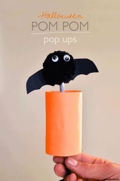 Halloween Craft / Halloween Pompom Pop Ups! Full tutorial at willowday…