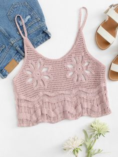 Shop Hollow Out Crochet Crop Cami Top online. SheIn offers Hollow Out Crochet Cr… Shop Hollow Out Crochet Crop Cami Top online. SheIn offers Hollow Out Crochet Crop Cami Top & more to fit your fashionable needs. Crochet Cami Tops, Shorts Crochet, Gilet Crochet, Crochet Bra, Crochet Blouse, Love Crochet, Crochet Clothes, Crochet Stitches, Cropped Cami