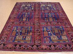 7x9-BALUCH-TRIBAL-Hand-Knotted-Wool-TRADITIONAL-BLUE-PICTORIAL-NEW-Oriental-Rug
