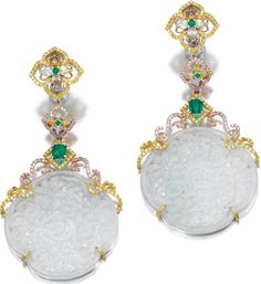 Pair of jadeite, emerald and diamond pendent earrings, Michael Youssoufian. Each designed as an open work jadeite plaque suspended from a series of links set with step- and circular-cut emeralds, coloured pear- and marquise- shaped and brilliant-cut diamonds, post and clip fittings, signed My with maker's mark, signed case and pouch.