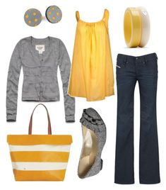 This looks so fresh - love the gray sweater cardi and I would even try a top like this. The yellow is so happy. Great flats, too. Premier Designs Twisted Up ring, Power Hour watch, Santa Fe earrings and Showstopper necklace. Fun for summer! Estilo Fashion, Look Fashion, Spring Fashion, Fashion Outfits, Womens Fashion, Fashion Ideas, Girl Fashion, Mode Style, Style Me