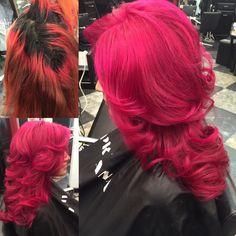 Transformation Tuesday red hair to pink hair. Joico vivids. Magenta hair