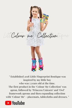 Established 2018 Little Fingerprint Boutique was inspired by my little boy who was 5 years old at the time. The first product in the 'Colour Me Collection' was apron, followed by 'Princess/Unicorn' and 'Owl' framework aprons and then expanding collection with 'Colour Me' - placemats, tablecloths and dresses. #coulourme #colourmedress #colouringwithkids #uniquedresses #princessdress #unicorn #inicorndress Boys Who, My Boys, Unique Dresses, Tablecloths, Handmade Shop, Aprons, 5 Years, I Dress, Little Boys