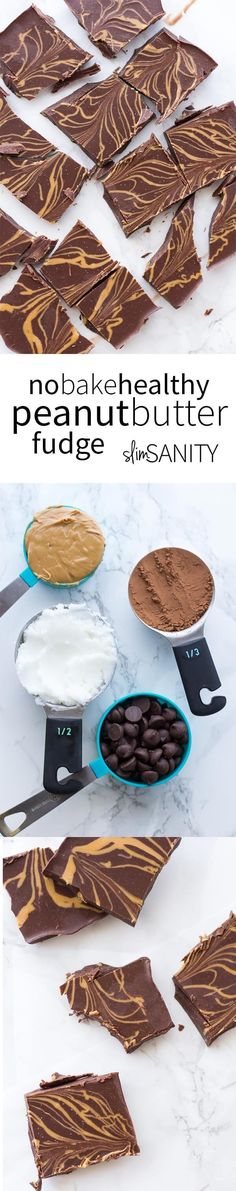Who doesn't love a simple healthy dessert? Try this no bake healthy peanut butter fudge when your next sweet craving strikes!   slimsanity.com