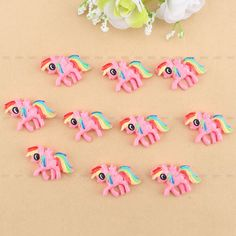 Hot 10Pcs Cartoon Cute My Little Pony Resin Flatback Scrapbook DIY Crafts Decor #Unbranded