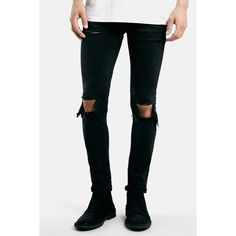 TOPMAN Ripped Stretch Skinny Fit Jeans (Black) ($39) ❤ liked on Polyvore featuring men's fashion, men's clothing, men's jeans, black, mens ripped jeans, mens rocker jeans, mens stretchy jeans, mens ripped skinny jeans and mens torn jeans