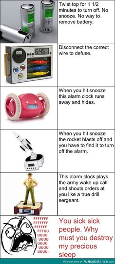 Evil alarm clocks| could I have the rolling one but cn we be honest that rocket one is bound to break something
