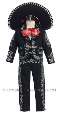 Boys Suit Style MARIACHI- BLACK- SILVER Boys Mariachi Suit with Matching Sombrero $85.00