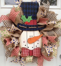 Burlap Christmas wreath!!  Or....use a tennis ball head, instead of wood.