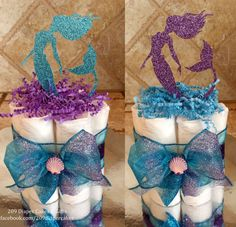 Glitter Teal and Purple Mermaid Mini Diaper Cake Centerpieces for Baby Shower by 209 Diaper Cakes & Gifts - facebook.com/209diapercakes