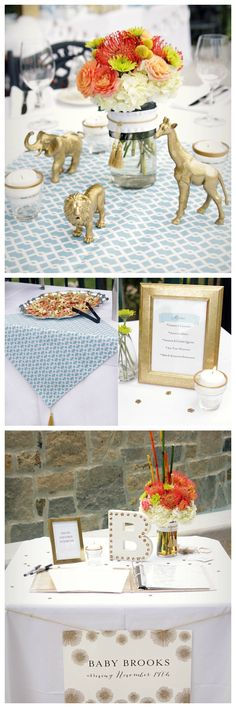 Posh Gold Safari Baby Shower Decor - fab ideas from the DIY gold painted craft store animals to the chic sign-in table!