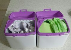 I hate throwing out my formula containers! So I've started recycling them and finding uses for them. You can decorate the containers any way you want...the uses are endless.