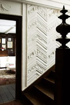 """[i]Original plasterwork at the bottom of the staircase.[/i]  Like this? Then you'll love  [link url=""""http://www.houseandgarden.co.uk/interiors/the-list/staircases""""]Staircases by The List[/link]"""