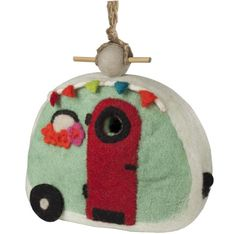 This hand felted wool birdhouse can be hung outside as well as inside. Great for small birds like wren, chickadees, nuthatch and titmouse. The hole is sized for use by small birds but can be enl Design Retro, Retro Campers, Wool Felt, Felted Wool, Small Birds, Handmade Design, Decoration, Fair Trade, Blue Bird