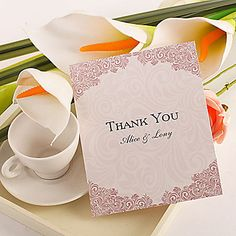 Thank You Card - Fuschia Flourishes-Set of 50/20 – USD $ 8.99
