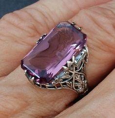 Art Deco Filigree CAMEO Ring STERLING Silver Intaglio Amethyst Glass Hallmarks for SALE