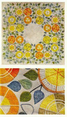 "Embroidery Lillemor Löfstrand ""Lemons"" 1959"