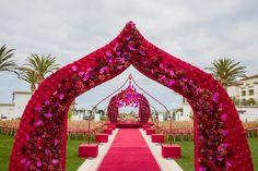 Red and Purple Floral Wedding Mandap | Megha + Nikhil | Indian Wedding Blog | Think Shaadi