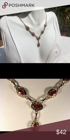 """925 Sterling Silver Ruby Necklace 925 SS Ruby 18"""" Necklace. Jewelry Necklaces"""