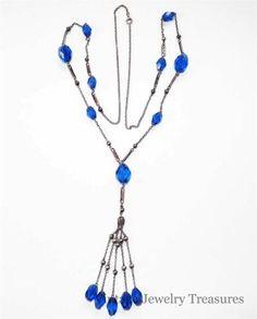 Vintage Antique Art Deco Blue Czech Glass Sterling Necklace Flapper Length