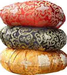 Silk covered, buckwheat filled, meditation cushions.