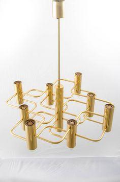 Geometric Brass-Plated Chandelier by Gaetano Sciolari for SA Boulanger, 1970s