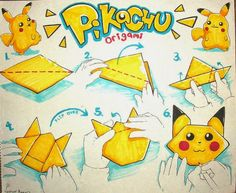 Pokemon Pikachu Origami for Kids! - Meine Merkliste -Simple Pokemon Pikachu Origami for Kids! More This video is about Easy Ch. Pokemon Craft, Pokemon Party, Pokemon Birthday, Pokemon Go, Easy Pokemon, Origami Instructions, Origami Tutorial, Origami Easy, Origami Paper