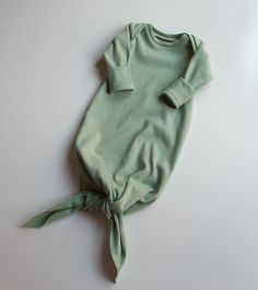 Organic Sage Newborn Gown / Green Knot Gown / Baby Clothes /