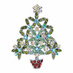 Xmas Tree Brooch Pin 38MM White Gold Plated Rhinestone Crystal Jewelrys Green Jewelry Christmas Tree, Jewelry Tree, Best Christmas Gifts, Jewelry Crafts, Vintage Christmas, Fine Jewelry, Xmas Tree, Christmas Trees, Christmas Topiary