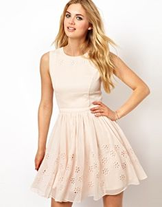 Ted Baker Skater Dress with Floral Broderie Detail