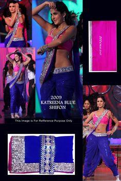 Buy Online Vamika Katrina Kaif Royal Blue Color Bollywood Replica Saree at Best Price in India.