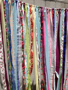 Gypsy Boho Fabric Garland Backdrop Curtain Dorm by ohMYcharley, $159.00