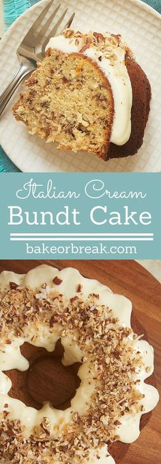 Coconut, pecans, and a cream cheese glaze make this Italian Cream Bundt Cake from Bake or Break a winner. Such a great, simple twist on a classic dessert! Classic Desserts, Italian Desserts, Mini Desserts, Just Desserts, Delicious Desserts, Dessert Recipes, Italian Cake, Italian Cookies, Oreo Dessert