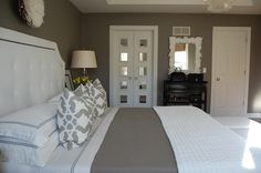 bedrooms - Benjamin Moore - Galveston Gray - Delano Upholstered Bed, Eileen Fisher Washed Linen Bedding, Eileen Fisher Rippled Cotton Coverl...