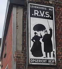 """RVS (Rotterdam Insurance Societies)- """"the umbrella"""" as symbol for protection. The logo, on tin signs (whealty couple, top hat, walking stick, umbrella and dog) was designed in 1905 by Tjeerd Bottema and was visible in almost each village at strategic places for more than 110 years (the Netherlands and Belgium)."""