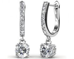 chicmarket.com - 18K White Gold Plated Horse Shoe Earrings Made With Swarovski Crystals