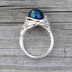 Blue Pearl RIng Silver Wrapped Ring