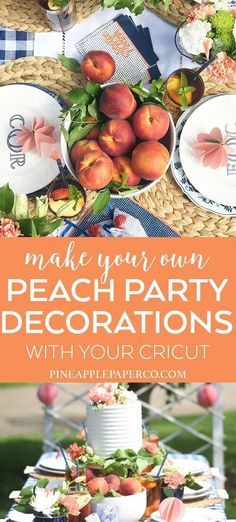 Plan a gorgeous outdoor summer party with Peach Party Decor by Pineapple Paper Co. with Cricut, Martha Stewart, and Michaels with DIY Party Decorations, Monograms, and a DIY Cake Topper! #ad #cricut #cricutmade #marthastewart #cricutmarthastewart #madewithmichaels #peachideas #outdoorpartyideas #summerpartyideas #backyardpartyideas #summerentertaining #diyparty #diypartydecorations