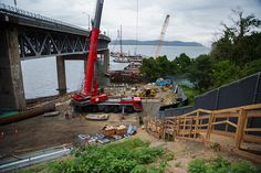 Preparing pier 43, part of the Westchester landing of the new bridge.