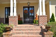 Architecture. Glamorous Brick Front Porch Steps. Brick Front Porch Steps Come With Twin Pillar White Finish In Terrace