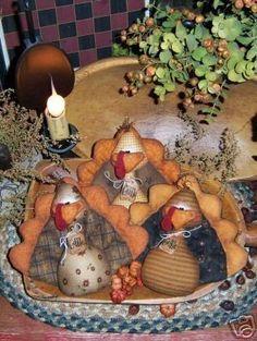 Primitive Thanksgiving Turkey Bird Ornies Pattern 230. $10.95, via Etsy.