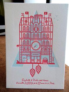 Print : Badcass - Design : Raphaëlle Vimont - Faire-part de naissance en letterpress - #débossage #pantone